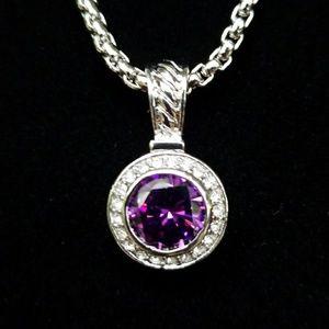 Amethyst Swarkowski Crystal CZ Necklace