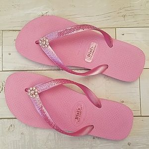Dini's Los Angeles Havianas Pink Jeweled Flip Flop