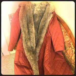 Fantastic Vintage 80's Faux Fur Puffy Trench Coat