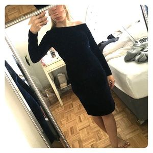 Reiss navy velvet dress