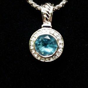 Blue Topaz Swarkowski Crystal CZ Necklace