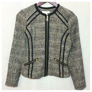 H&M Tweed Zipper Blazer Grey Fitted Black Trim 6