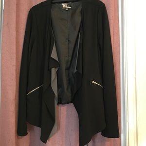 KUT black/Grey chiffon open blazer Large