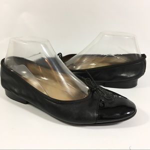 Chanel Black Leather Flats Shoes with Bow