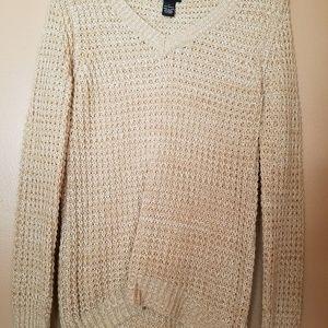 Rue 21 Cream V Neck Sweater Size Small