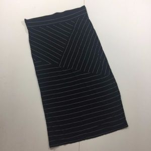 Pure Energy  Black White Striped Long Maxi Skirt