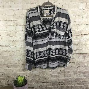 Silk tribe gray button down shirt