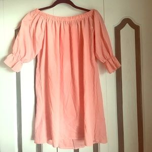 Off the shoulder babydoll dress with buttons down