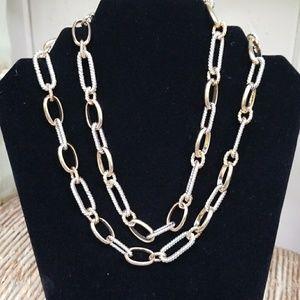 Designer Inspired Oval link Gold and Silver Neckla