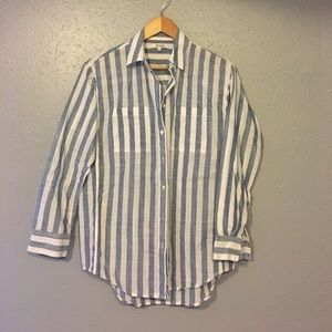 NWOT MADEWELL Blue and white striped button down