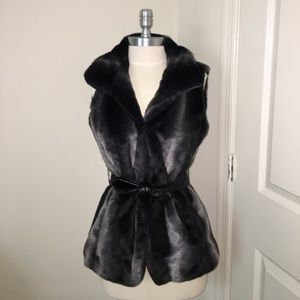 Via Spiga Faux Fur Vest/Faux leather belt Size XS