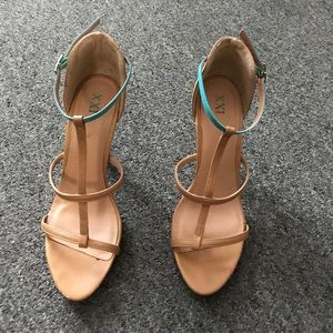 Forever 21 Tan Heels with Teal Detail
