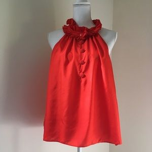 J Crew Red Silk Ruffle Neck Blouse Medium