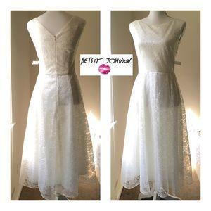 Betsey Johnson White Lace Tea-length Dress 2 NWOT