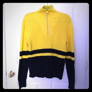 NWT Ralph Lauren zip yellow and navy blue sweater.