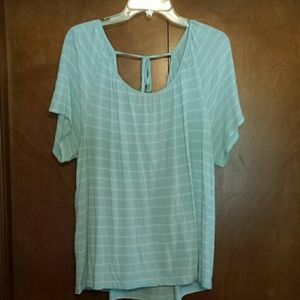 Pastel green and white top