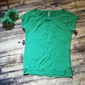 Tops - Aqua short sleeve top with lacing design.