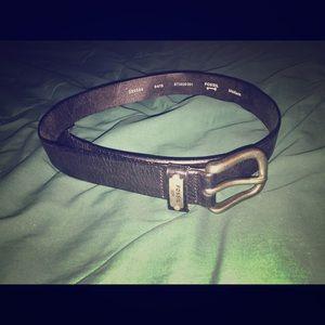 """Fossil black leather belt 32""""-36"""" medium"""