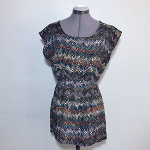 Forever 21 Fall Colors Chevron Zigzag Tunic Top