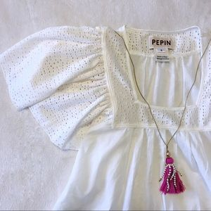 Pepin (Anthropologie) Off-White Flutter Sleeve Top