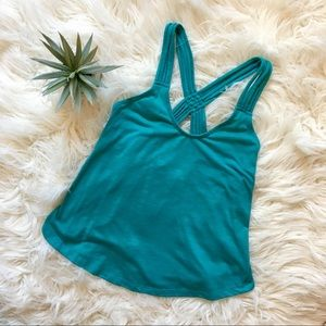 Teal Strappy Racerback Tank Top/Workout Top