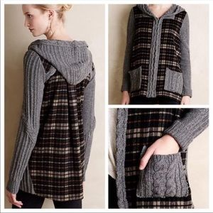 Moth for anthro knit plaid sweater
