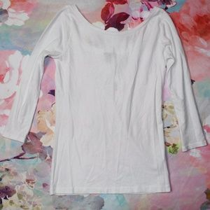 NWT J Crew White 3/4 Sleeve Scoop Neck Tee XXXS