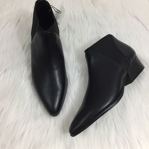 MNG leather ankle booties with side elastic