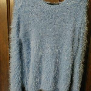 Fuzzy scoop neck sweater