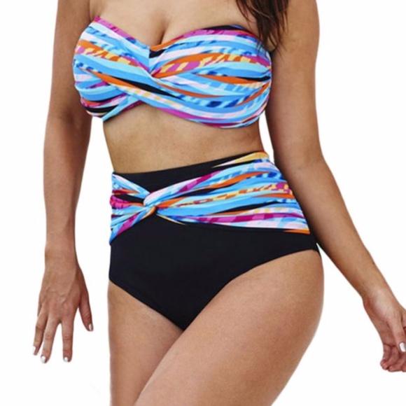 b9ad3a82e2 Plus size Striped High Waist Bikini Swimsuit. M_59c28653eaf0305357010c20