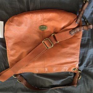 Orange leather fossil purse