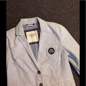 A & F Seersucker Stripe School Girl Blazer Jacket