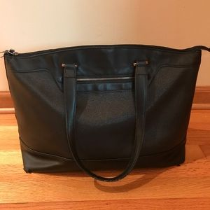 Black Faux-Leather Tote Bag