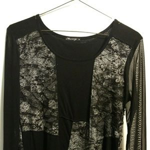 Sheer long-sleeve top