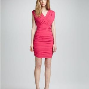 Alice + Olivia Pink Nannette Rouche Dress, med