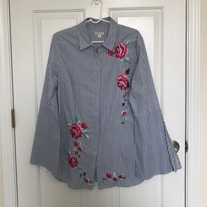 Merona bell sleeves blue strips shirt embroidered