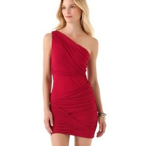 Alice + Olivia red one shoulder dress