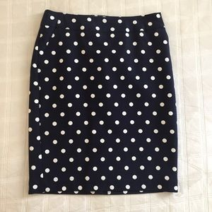 Never Worn Navy & White Polka Dot Pencil Skirt