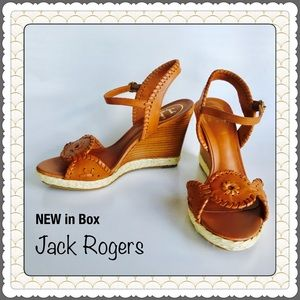 Jack Rogers Sandals 🌴NEW Clare Wedges Cognac $178