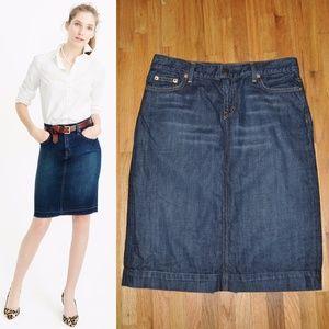 J.CREW Dark Wash Denim Jean Pencil Skirt sz 30