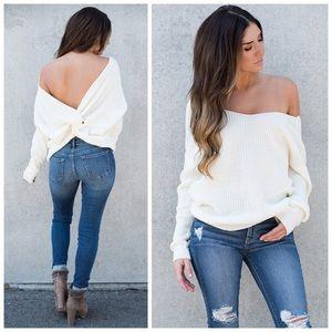 New ivory twist back oversized sweater