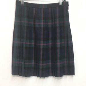 NWT, Brooks Brothers Plaid Wool Pleated Skirt