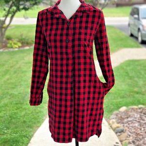 Flannel Latitude Shirtdress in Buffalo Check