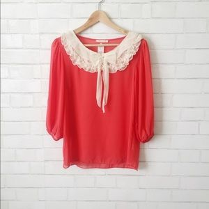 Anthropologie Lace Front Blouse