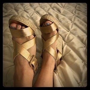Michael Kors gold size 7 wedge sandals