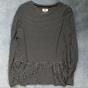 Old Navy striped black white peplum top size L