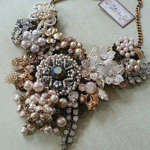 Vintage collage handmade statement necklace
