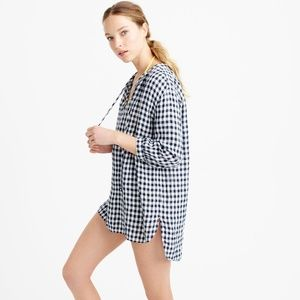 J. Crew lightweight linen tunic in gingham
