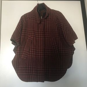 TOPSHOP Plaid Cape Coat