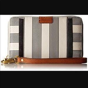 Fossil Emma large zip clutch black stripe wallet